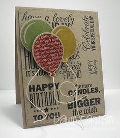 Cute Brown Kraft Birthday Card...with dimensional balloons.  Treasure Oiler Designz.