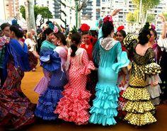 Young women dancing sevillanas outside a caseta at La Feria de Abril de Sevilla, April 13, 2016.  Photo by Gerry Dawes©2016, Canon 5D Mark III, 24-105mm f/4 lens.