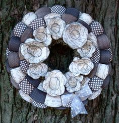 Awesome fabric flowers wreath