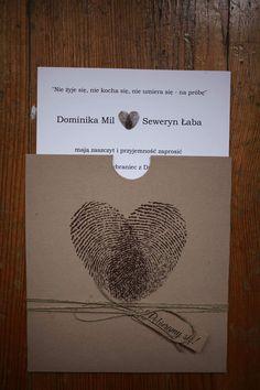 Zaproszenia ślubne rustykalne, odciski palców, papier eco