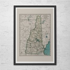 NEW HAMPSHIRE MAP - Vintage Map of New Hampshire - Old Map Print, Vintage Wall Art, Antique Map, Historical Wall Art