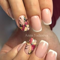 Decoracion De Uñas Francesas Con Flores (1) Nail Ink, Nail Manicure, Color For Nails, Nail Colors, Gorgeous Nails, Pretty Nails, Nail Art Designs, Butterfly Nail Art, Latest Nail Art