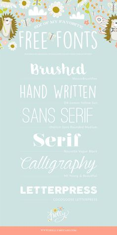 Favorite Free Fonts by Surface Pattern Designer Holly McCaig Handwritten Fonts, Calligraphy Fonts, Typography Fonts, New Fonts, Pretty Fonts, Beautiful Fonts, Blog Fonts, Lettering Design, Hand Lettering