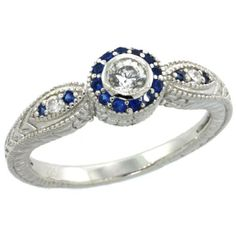 Revoni Sterling Silver Vintage Style Engagement Ring w/ Brilliant Cut Clear & Blue Sapphire Color CZ Stones, 1/4 in. (6.5mm) wide, size 9 Revoni http://www.amazon.co.uk/dp/B005CV6K4M/ref=cm_sw_r_pi_dp_zvpkvb02VAGKJ