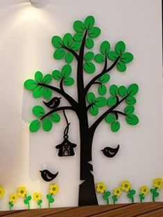 New arrival Crystal Acrylic wall stickers for kids room Tree bird DIY Art wall decor sticker Sofa wall home decoration School Board Decoration, School Decorations, Hallway Decorations, Animal Crafts For Kids, Diy For Kids, Felt Flowers, Paper Flowers, Diy Y Manualidades, Diy And Crafts