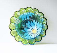 Garden Art Glass Egg Plate Flower Dragonfly Yard Decor by jarmfarm, $135.00