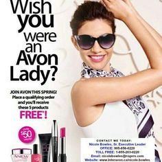 Are you interested in becoming a representative on one of Canada Top Avon teams?  Email me at nicolebowles@rogers.com or call me at 1-855-203-0220.  I'd love to help you build your own successful Avon business.