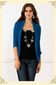 I love this in blue! Colored cardigans and wraps.... (: