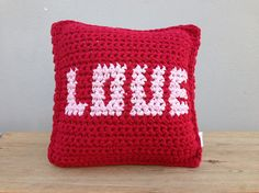 Crochet Pillow, Red Pillow, Valentine, Gift For Lovers, Valentine Pillow, Romantic gift, Red