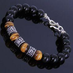 Men-Women-Black-Obsidian-Tiger-Eye-Gemstone-Bracelet-Sterling-Silver-Clasp-Beads