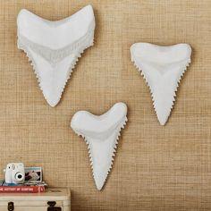 Pottery Barn Teen Paper Mache Shark Teeth, Set of White Shark Nursery, Shark Room, Ocean Bedroom, Kids Bedroom, Kids Rooms, Boy Rooms, Shark Bathroom, Teen Wall Decor, Bedroom Themes