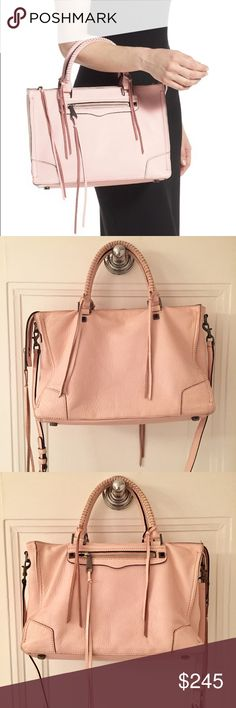 """Rebecca Minkoff Regan Satchel The bag of the moment. Beautiful light pink leather with whipstitched handles. First photo from the Nordstrom site, where this color retailed for $325, now sold out. Very light wear on bottom of feet at bottom of bag and on tassels, but still in great condition. Clean interior with some markings. Shoulder strap included. Reasonable offers considered. Please ask questions. Approx. 13""""Wx9""""Hx6""""D. Fast shipping/all FIVE STAR reviews! Rebecca Minkoff Bags Satchels"""