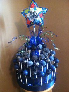 Blue birthday cakepop cake