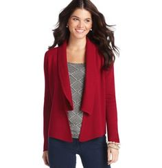 Ribbed Shawl Collar Open Front Cardigan