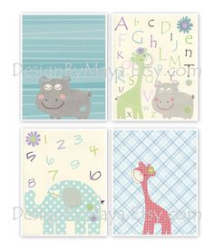 Kids Wall Art Nursery Decor Carter Zoo Baby girl by DesignByMaya