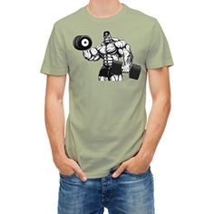 T-shirt Gym muscle Bodybuilder with dumbbells Green Sage M - Brought to you by Avarsha.com