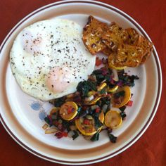 vegetarian meal ideas; fried eggs and sauteed vegetables