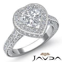 Stunning Heart Diamond Engagement Anniversary Ring GIA G SI1 Platinum 950 2.6 ct #Javda #SolitairewithAccents
