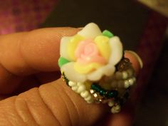 Beaded flower ring, yellow, pink, white, green- size 9.5 by StrungOnLove on Etsy