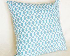 Blue Lattice Pillow, Turquoise Blue White Trellis, Geometric, 12X18 Lumbar, 18x18 Accent Pillow, Designer Toss Cushion Covers, Modern