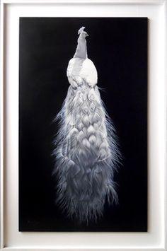 "Saatchi Art Artist Ilaria Caputo; Painting, ""Peacock - Dream in Black and White"" #art"
