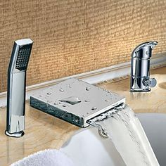 Two Handles Widespread Waterfall Contemporary Tub Tap With Handshower Chrome Finish