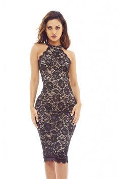 AX Paris Womens Black Cut In Neck Lace Dress Stylish Glam Ladies Clothing