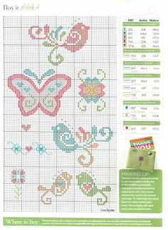 cross stitch birds and butterfly para a fralda Cross Stitch For Kids, Cross Stitch Boards, Mini Cross Stitch, Cross Stitch Heart, Cross Stitch Animals, Butterfly Cross Stitch, Cross Stitch Flowers, Cross Stitch Designs, Cross Stitch Patterns