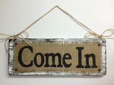 Business BURLAP Sign, OPEN Come In, two sided, Shop Decor, Boutique BURLAP…
