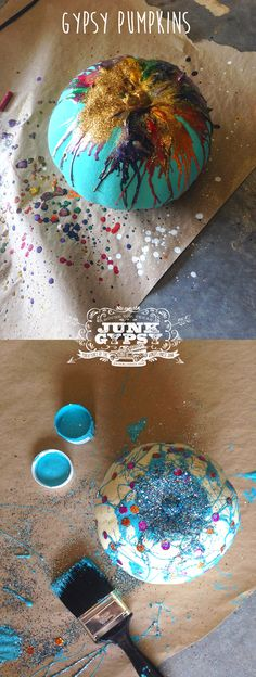 everythin' but the kitchen sink pumpkins! melted crayons, junk gypsy paint, sequins & glitter! diy pumpkins {junk gypsy co.}