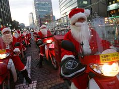 In Seoul, South Korea, postmen dress up as Santa Claus and ride motorcycles to deliver the mail. Christmas has become increasingly popular over the years in South Korea, which is the only East Asian country to recognize Christmas as a national holiday.