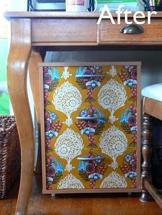 Not a huge fan of this fabric, but love the idea.. Another great Modge Podge idea