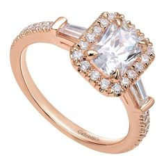 14k Pink Gold Contemporary Halo Engagement Ring
