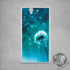Dandelion Sony Xperia z3 compact case blue white wood print Xperia Z1 compact…