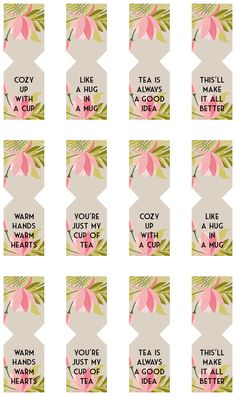 Free Printable Tea Bags Tags by Shrimp Salad Circus - Preview