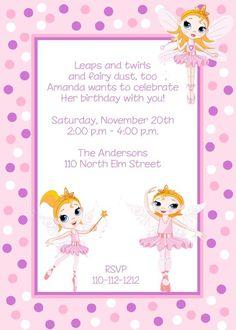 Ballerina Birthday Invites