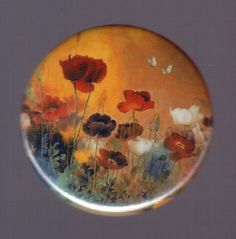 Floral sunset pinback button or magnet by SwankSpecials on Etsy, $3.00