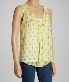 Take a look at this Adrienne Lemon Cross Sleeveless Top - Women on zulily today!