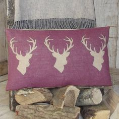 ' Plum Triple Stag ' Cushion - notonthehighstreet