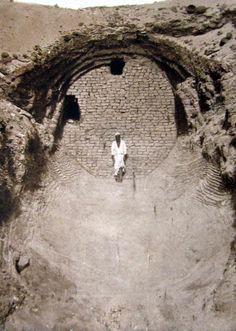 Boat Pit of Senusret III, Dashur, Egypt (1894 photo from Wikipedia, `Pyramide de Sésostris III'.)