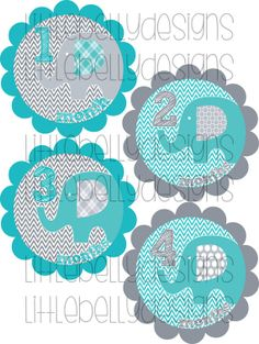 Newborn to 12 months stickers for your baby boy. Each sticker is themed with turquoise & grey with elephants and chevron. This adorable photo prop will be the perfect accessory for your month by month photos. You can either download the file and make the stickers yourself or order pre-cut stickers. These make the perfect baby shower gift and will help any mommy remember their first year in a very special way! It's a great way to capture how much your little one is growing!