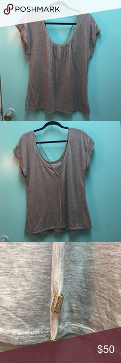 Trina Turk top Soft Trina Turk t-shirt. Gray/beige burnout style design, scoop neck and back with two long ties complete with gold clasps that lay on the back. EXCELLENT condition! Trina Turk Tops Tees - Short Sleeve