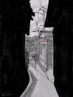 """松野美穂さんのツイート: """"#sketch #drawing #draw #landscape #illustration #illustrator #風景画 #風景 #郵便局 #坂道 #路地 #電線 #電柱 #習作 https://t.co/a8xEzs8T2Q"""""""