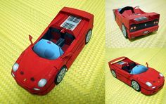 This paper car model is a 1995 Ferrari a mid-engined range-topping sports car made by Ferrari, the papercraft is created by For further informat Paper Car, 3d Paper, Paper Toys, Free Paper, Race Car Themes, Race Cars, Top Sports Cars, Car Makes, Paper Models