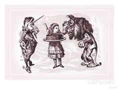 Through the Looking Glass: Alice, Lion, Unicorn and Cake Posters by John Tenniel - AllPosters.ca 41x30cm (without border: 37 x 26 cm) 26.99$