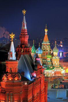Torres del Kremlin y Catedral de San Basilio, MOCKBA, Rusia