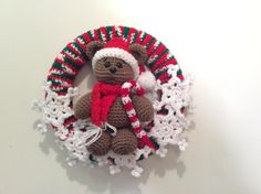 Teddy Bear Christmas Wreath  - Crochet creation by Lisa