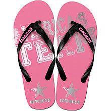 Womens Team Beans Dallas Cowboys Pink Foil Flip Flops - NFLShop.com