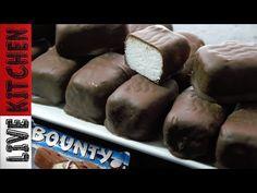 """""""Νηστίσιμες"""" Μπάρες Bounty με 3 Υλικά - Chocolate bars Bounty Vegan bars Bounty Live Kitchen - YouTube Kitchen Living, Sausage, Recipies, Food And Drink, Meat, Youtube, Greek, Recipes, Sausages"""