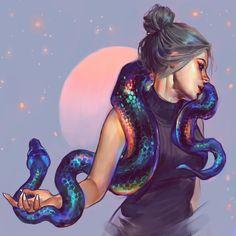 Ideas Digital Art Photography Draw For 2019 Art And Illustration, Cassandra Calin, Animal Drawings, Art Drawings, Character Inspiration, Character Art, Snake Art, Digital Art Photography, Girl Artist
